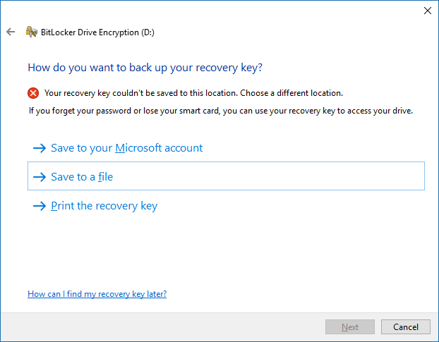 Choose the recovery key