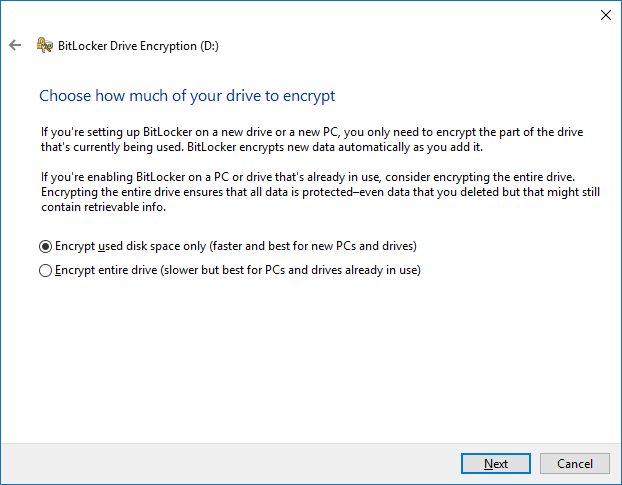 Select how much of your drive you want encrypt