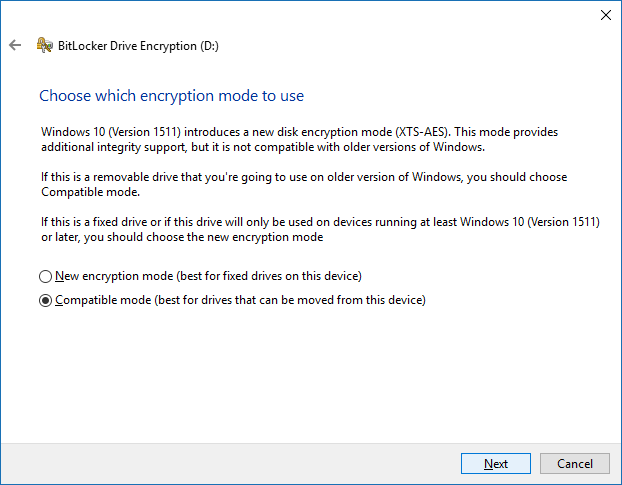 Choose encryption mode