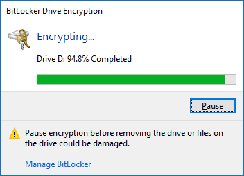 Drive encryption in progress...