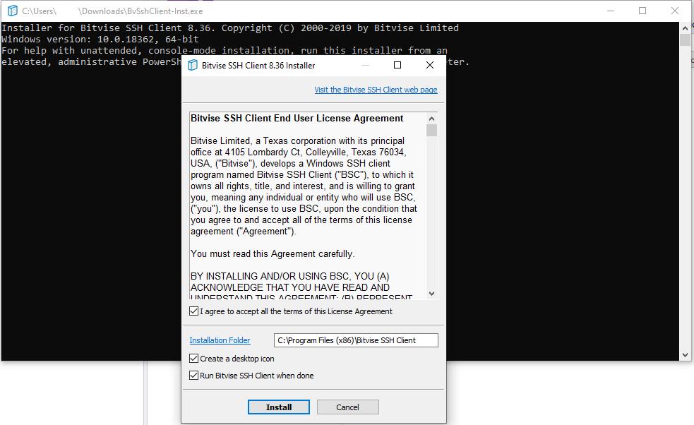 Bitvise SSH Client Installation 1