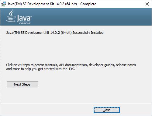 JavaSE installation completed.