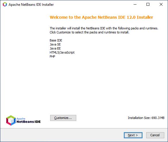 Begin NetBeans installation