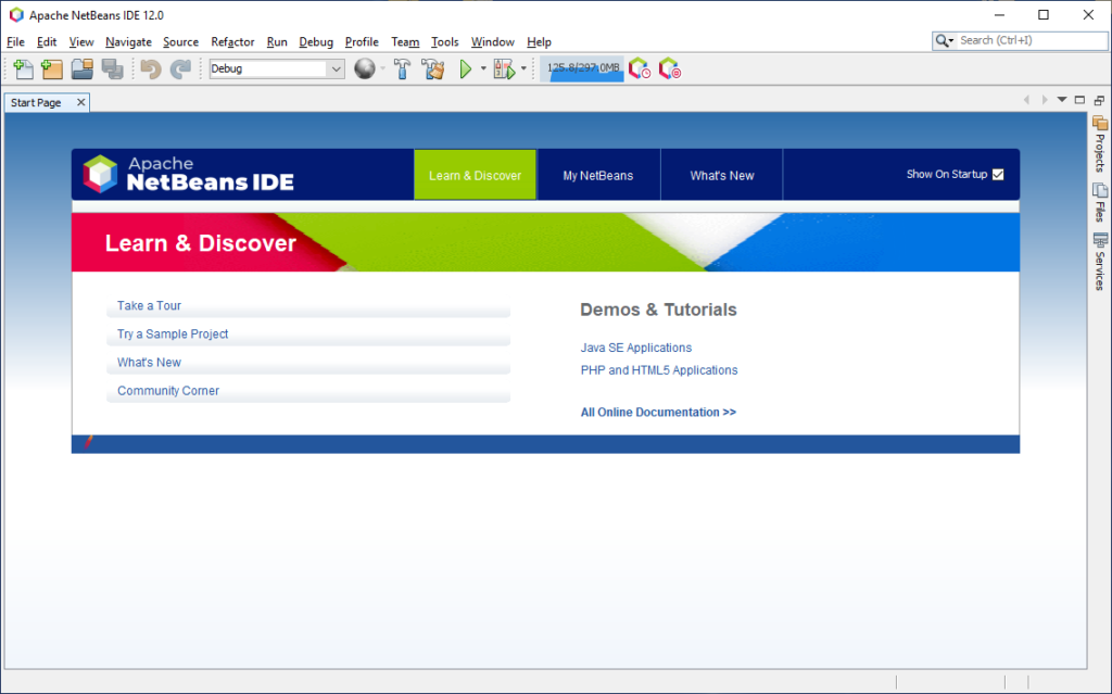 NetBeans main page