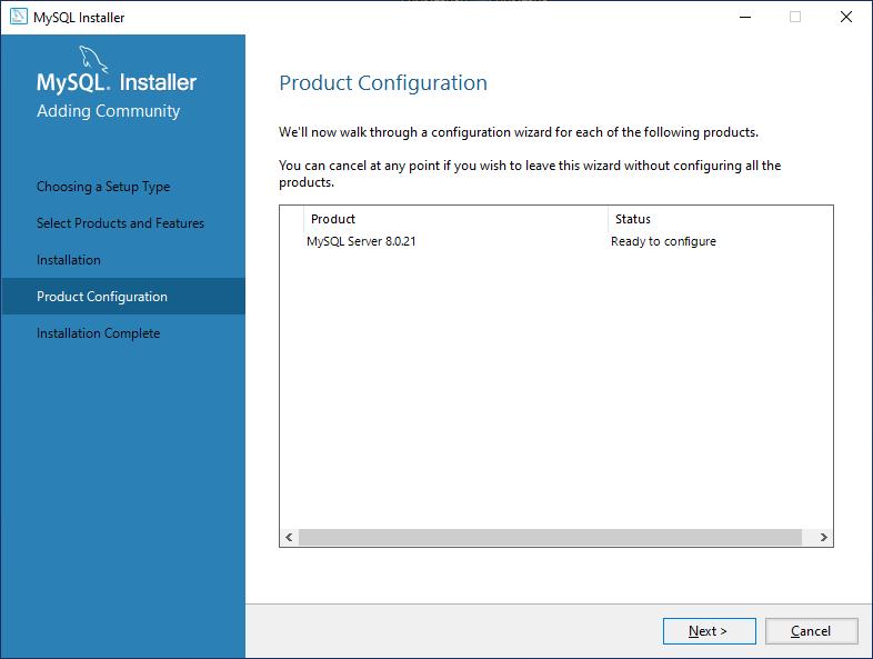 Ready to configure MySql