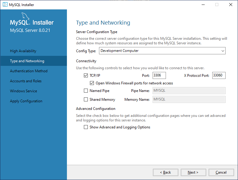 Configuring type and networking