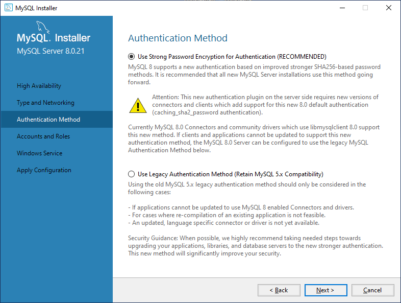 Configure authentication method