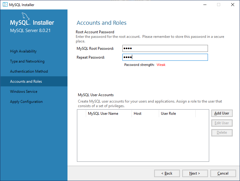 Configure root password and other accounts