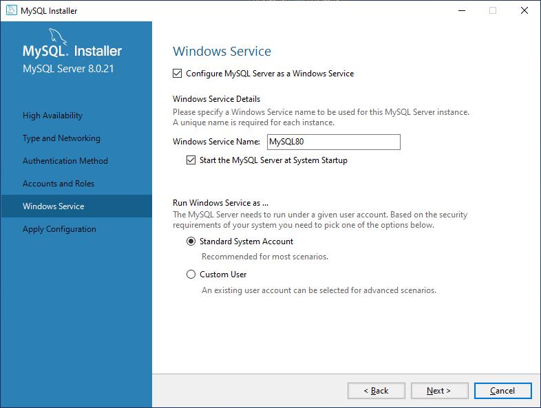 MySql Server service configuration