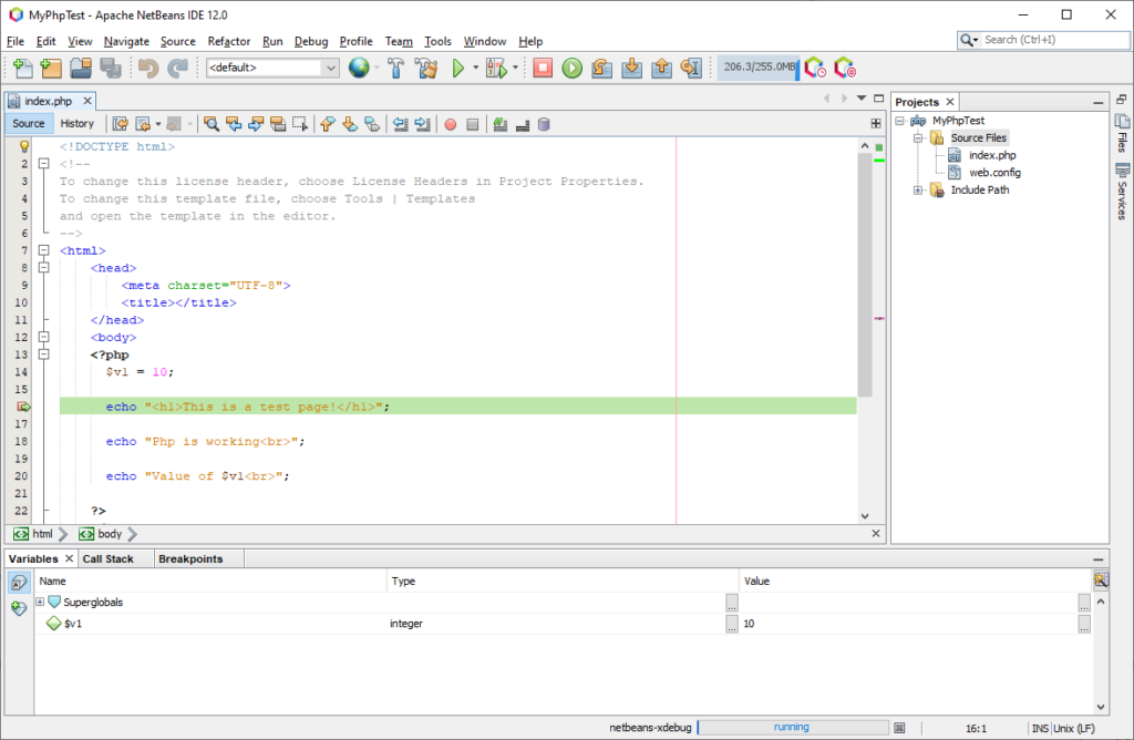 Debugging PHP code with NetBeans