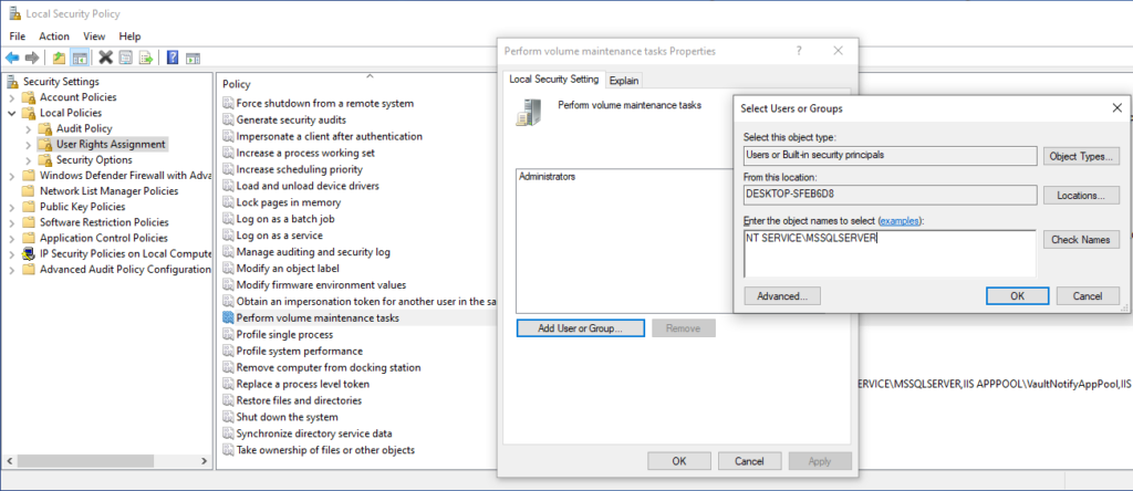 Add Sql Server user to the list