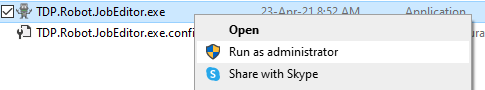 """Execute JobEditor with the """"Run as administrator..."""" option"""