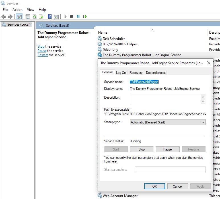 Windows service configuration